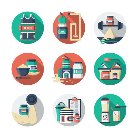 sports app: Food, water and sport. Healthy lifestyle. Sports nutrition and supplements. Detailed flat color style vector icons. Web design elements for business, site, mobile app. Illustration