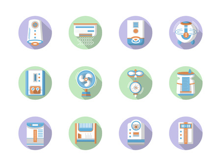 office appliances: Heating, ventilation and conditioning system appliances. Home and office climate. Set of flat color round vector icons. Element for web design, business, mobile app.