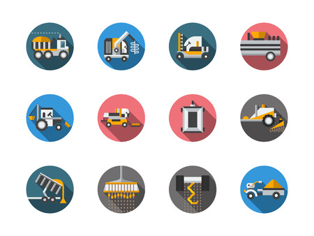 plowing: Agricultural vehicles. Harvesting combine and tractors. Plowing, mowing, planting  Farming. Set of flat color round vector icons. Element for web design, business, mobile app.