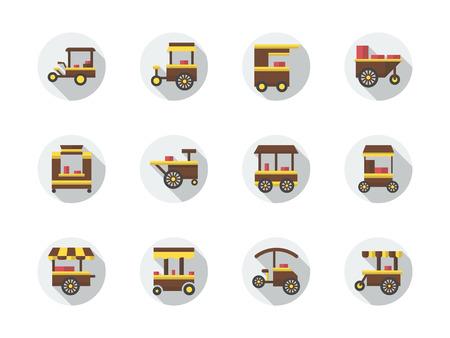 屋台の食べ物の種類のカート。ホイールの高速食品トロリー。都市の貿易のオブジェクト。ベクトルのアイコン ラウンド フラット カラーのセット