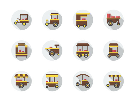 Carts for street food different types. Fast food trolley on wheel. Urban trade objects. Set of flat color round vector icons. Element for web design, business, mobile app. Ilustração