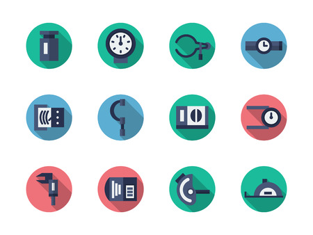 metrology: Measurement tools and instruments. Metrology equipment. Set of flat color round vector icons. Element for web design, business, mobile app.