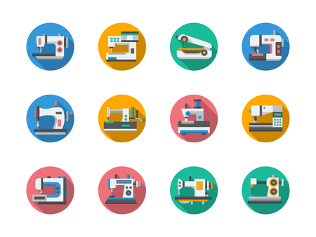 sewing machines: Light industry. Sewing shop.  Sewing machines and other equipment. Tailoring machinery. Set of flat color round vector icons. Element for web design, business, mobile app. Illustration