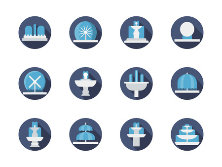 fountains: Urban construction elements. Fountains for park and outdoor landscapes. Decorative fountains. Set of flat color round vector icons. Element for web design, business, mobile app.