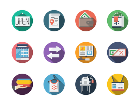 commission: Online commission shop. Internet selling elements. Set of flat color round vector icons. Element for web design, business, mobile app. Illustration