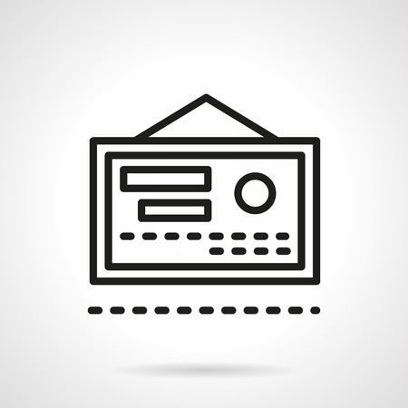 authorize: Abstract medical certificate with stamp. Medicine theme. Quality health care. Single black line design vector icon. Element for web design, mobile and business.