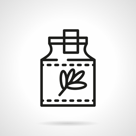 tincture: Glass jar with herb branch and with cork. Pharmacy theme. Herbal tincture. Single black line design vector icon. Element for web design, mobile and business. Illustration