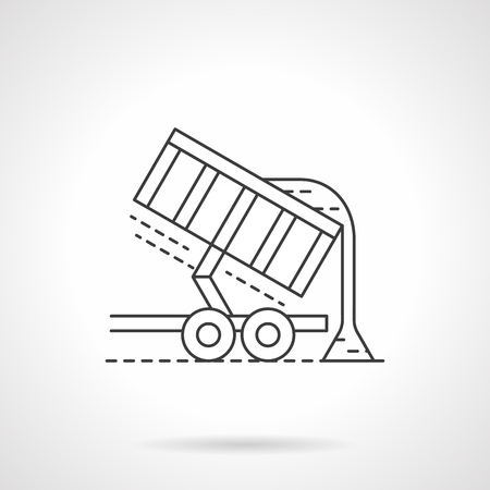 agriculture machinery: Unloading crop or grain from harvester trailer. Agriculture machinery. Farming. Single flat thin line style vector icons. Element for web design, business, mobile app. Illustration