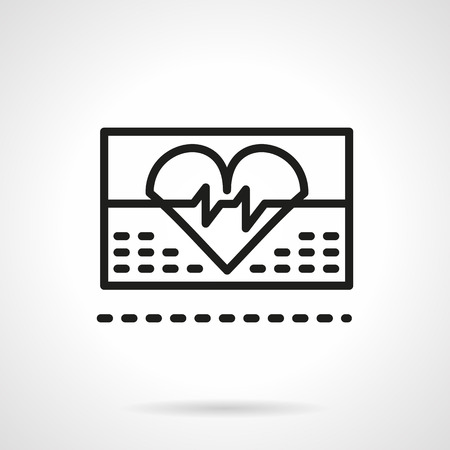 heart monitor: Abstract heart with cardiogram curve on ECG monitor. Cardiology symbol. Healthcare theme. Single black line design vector icon. Element for web design, mobile and business.