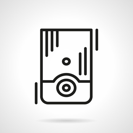 to boiling: Water boiling appliance. Household equipment for heating. Single black line design vector icon. Element for web design, mobile and business.