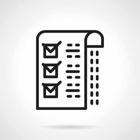 checkboxes: Paper with checklist. Marks in a checkboxes and abstract sample text. Medical exame. Single black line design vector icon. Element for web design, mobile and business.