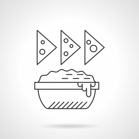 dipping: Dish with sauce for nachos. Traditional mexican food. Signs for restaurant menu. Single flat thin line style vector icons. Element for web design, business, mobile app.