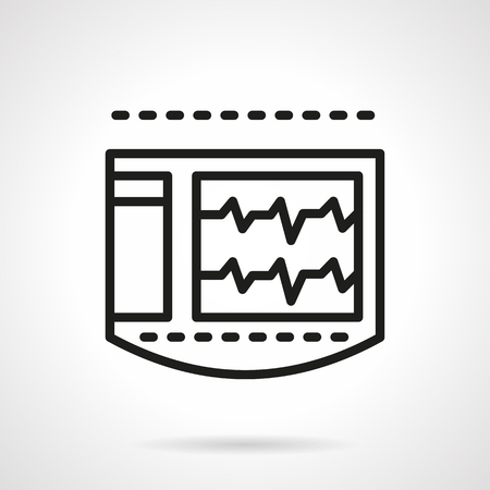 heart monitor: Abstract monitor for electrocardiogram with heart rate curve. Health monitoring. Emergency. Cardiology. Single black line design vector icon. Element for web design, mobile and business.
