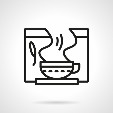 herbalist: Tea cup with steam. Herbal tea. Healing drinks. Pharmacy items. Healthcare theme. Single black line design vector icon. Element for web design, mobile and business.