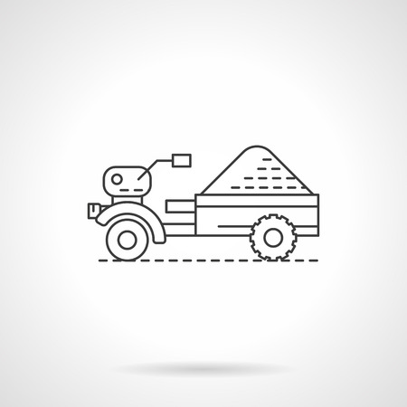 corny: Agricultural and farming machinery. Small tractor wiyh trailer. Single flat thin line style vector icons. Element for web design, business, mobile app. Illustration