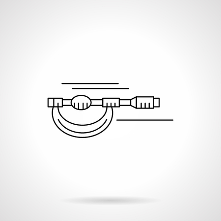 micrometer: Measurement tools and instruments. Engineering, Metrology elements. Micrometer. Single flat thin line style vector icons. Element for web design, business, mobile app.
