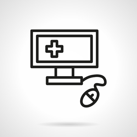 patient data: Computer technology for medicine. Computer diagnosis, patient data base, medical administration. Single black line design vector icon. Element for web design, mobile and business. Illustration