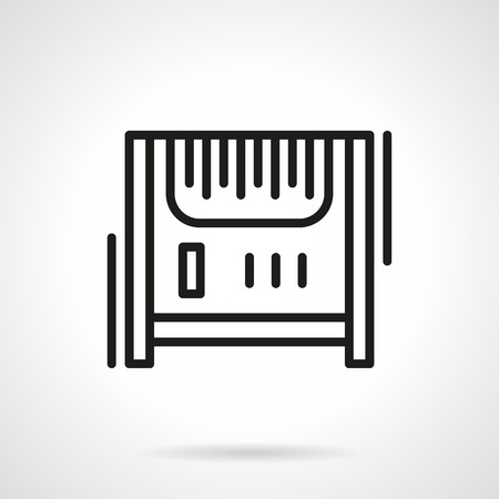 black appliances: Heating system appliances and accessories. Radiator or heater. Climate equipment. Single black line design vector icon. Element for web design, mobile and business. Illustration