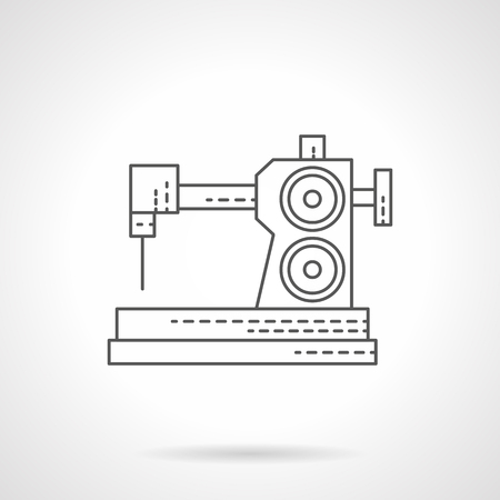 dressmaking: Manual sewing machine. Equipment for dressmaking and embroidery. Single flat thin line style vector icons. Element for web design, business, mobile app.