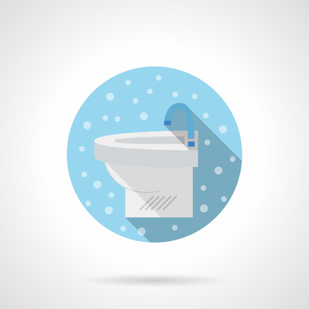 mobile accessories: Washbasin for bathroom. White sink. Bathroom accessories. Bubbles style. Flat color round blue vector icon. Element for web design, business, mobile app.