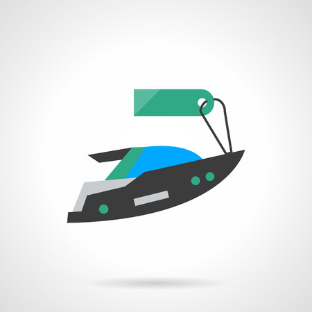 motor boat: Sale of yacht. Vehicles for rent. Motor boat with green price tag. Summer tour. Flat color style single vector icon. Element for web design, business, mobile app. Illustration