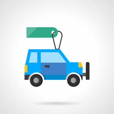 dealership: Blue car with green blank tag. Automobile sale and car dealership. SUV  lot. Sale and rent of new and used cars. Flat color style single vector icon. Element for web design, business, mobile app. Illustration