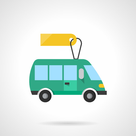 toy shop: Green toy minibus with blank price tag. Toy shop. Cars and vehicles. Flat color style single vector icon. Element for web design, business, mobile app.