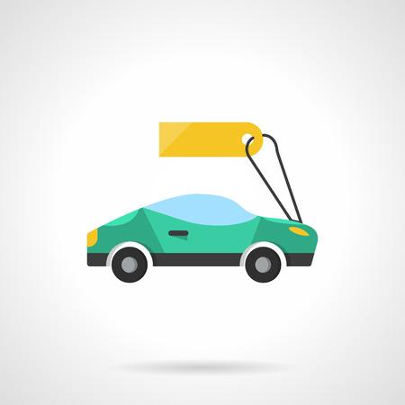 Sprzedaż nowych i używanych pojazdów. Zielony samochód sportowy z ceną. Sprzedaż detaliczna. Ikona wektor płaski kolor stylu płaski. Element do projektowania stron internetowych, biznesu, aplikacji mobilnej. Ilustracje wektorowe