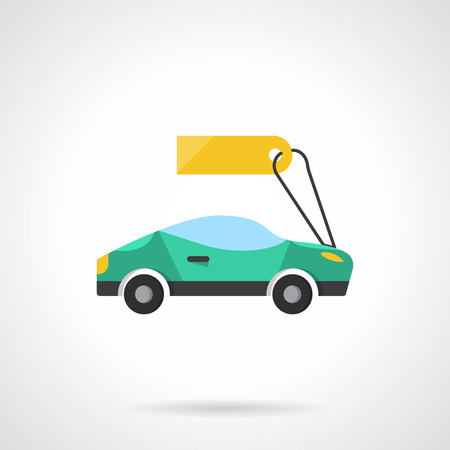 New and used vehicles sale. Green sport car with price tag. Auto retail. Flat color style single vector icon. Element for web design, business, mobile app.