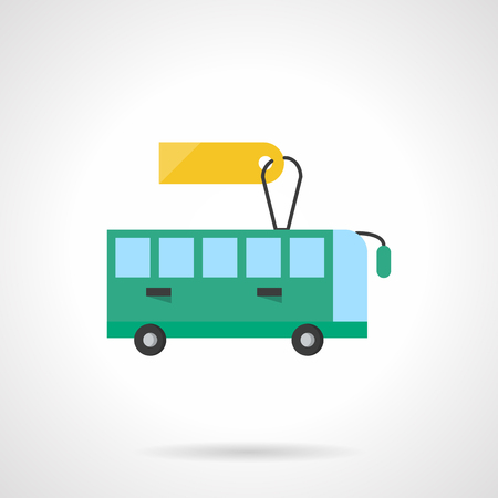 intercity: Green intercity, tourist or school bus. Passenger transportation business and services. Bus for rent. Flat color style single vector icon. Element for web design, business, mobile app.