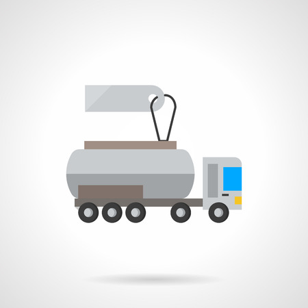 cistern: Truck for transport of liquid cargo. Cistern vehicle with blank price tag. Transportation services. Flat color style single vector icon. Element for web design, business, mobile app. Illustration