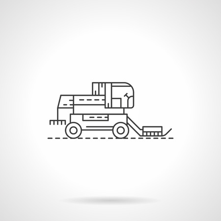 agricultural machinery: Agricultural machinery. Harvester combine. Farming vehicles. Single flat thin line style vector icon. Element for web design, business, mobile app.