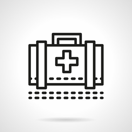 medical case: Classic medical case with healthcare sign. Medicine first aid. Doctor accessory. Single black line design vector icon. Element for web design, mobile and business. Illustration