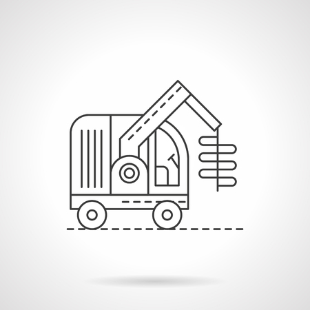 agriculture machinery: Machinery and technics for agriculture and farming. Unloading grains. Harvester combine. Single flat thin line style vector icon. Element for web design, business, mobile app. Illustration