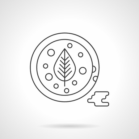 sauces: Bowl with tomato sauce and basil leaf a top view. Sauces and spicy menu. Single flat thin line style vector icon. Element for web design, business, mobile app.