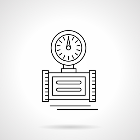 gas gauge: Round gauge on pipe. Pressure measurement for water or gas pipeline. Counter device. Single flat thin line style vector icon. Element for web design, business, mobile app.