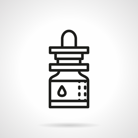 inhalation: Small glass jar with pipette. Essential oil. Products for aromatherapy. Pharmacy theme. Single black line design vector icon. Element for web design, mobile and business.