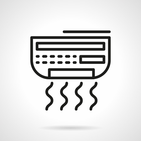 black appliances: House climate control appliances. Air conditioning device. Conditioner. Single black line design vector icon. Element for web design, mobile and business.