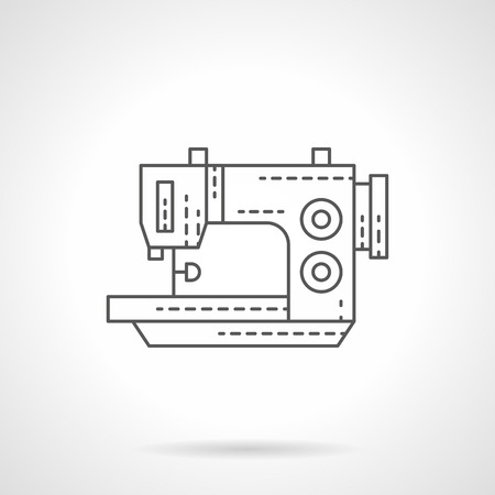 stitching machine: Garment factory equipment. Sewing or stitching machine for tailoring and mending. Single flat thin line style vector icon. Element for web design, business, mobile app. Illustration