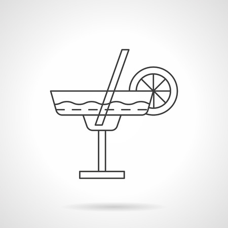 lime slice: Margarita cocktail in glass with lime slice and straw. Mexican traditional drinks. Beverages menu for cafe, bar, restaurant. Flat thin line vector icon. Element for web design, business, mobile app. Illustration