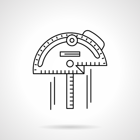 metrology: Different tools and instruments for measurement. Metrology, engineering, construction. Inclinometer. Single flat thin line style vector icon. Element for web design, business, mobile app. Illustration