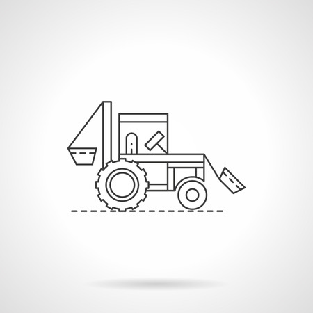 agriculture machinery: Agriculture machinery and vehicles. Farming tractor. Single flat thin line style vector icon. Element for web design, business, mobile app. Illustration