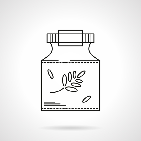 Homeopathy symbol. Glass jar with herb. Alternative medicine. Pharmacology. Single flat thin line style vector icon. Element for web design, business, mobile app.