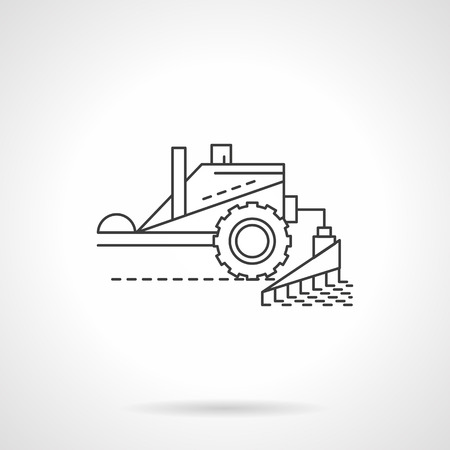 agriculture machinery: Agriculture and farming. Combine machinery. Harvesting equipment. Single flat thin line style vector icon. Element for web design, business, mobile app.