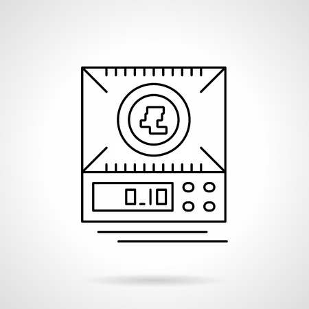 metrology: A top view of digital scales or electronic balance. Equipment for small weights measurement. Single flat thin line style vector icon. Element for web design, business, mobile app.
