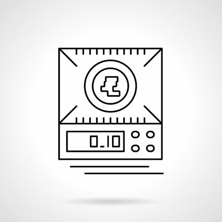 balanza de laboratorio: Una vista desde arriba de balanzas digitales o balanza electrónica. Equipo para la medición de los pesos pequeños. Un solo plano delgado estilo de línea del icono del vector. Elemento para el diseño web, negocio, aplicación móvil. Vectores