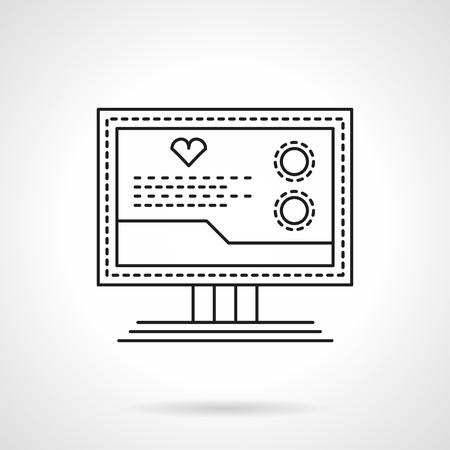 icono computadora: equipo de diagnóstico médico. Equipo cardiológico. Monitor con la muestra del corazón y datos. Un solo plano delgado estilo de línea del icono del vector. Elemento para el diseño web, negocio, aplicación móvil.