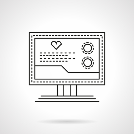 Medical computer diagnostics. Cardiology equipment. Monitor with heart sign and data. Single flat thin line style vector icon. Element for web design, business, mobile app.