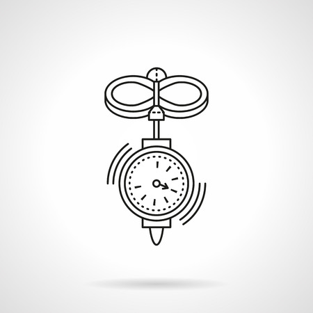 metrology: Wind speed measuring equipment. Anemometer. Weather and metrology tools.  Single flat thin line style vector icon. Element for web design, business, mobile app.