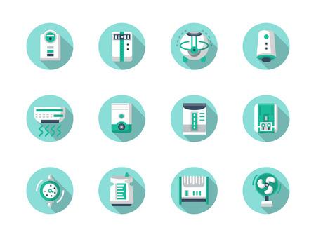 Apparecchi per il miglioramento dell'aria. Casa e ufficio clima. Ionizzanti, di purificazione, di condizionamento d'aria. Set di colore piatto icone rotonde vettoriali, lunga ombra. Elemento per il web design, affari, mobile app. Vettoriali